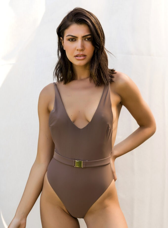 One piece with belt and an open back-Sand