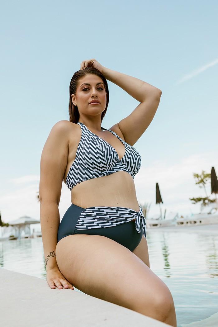 Bikini with print on top-Blue