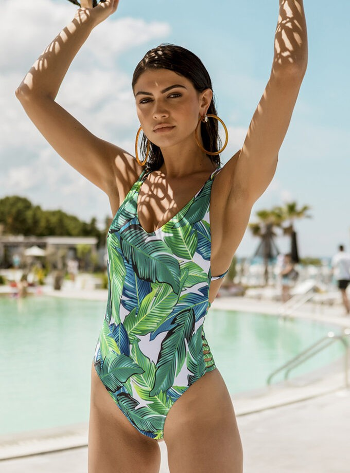 One piece with tropical print-Blue