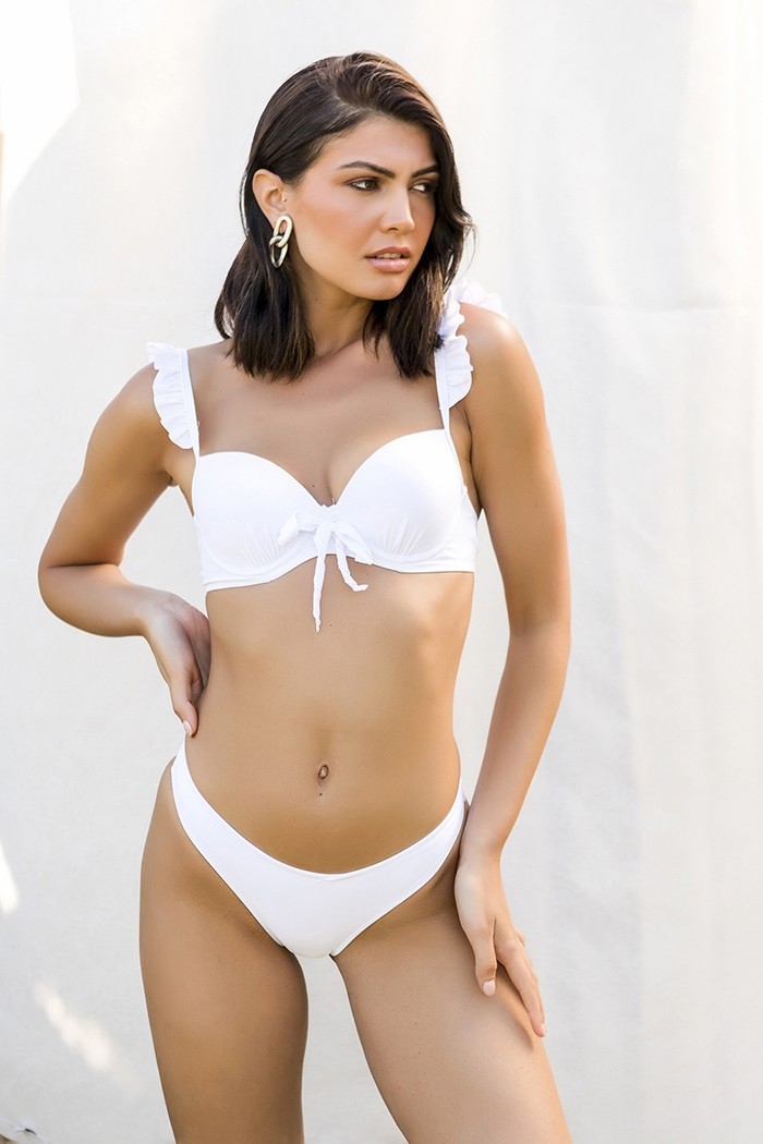 Bikini with ruffles on the straps-White