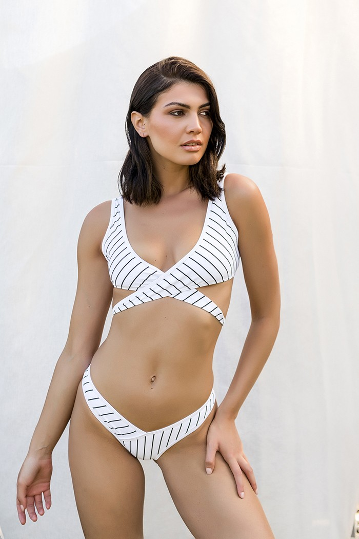 Striped bikini-Mallorca white