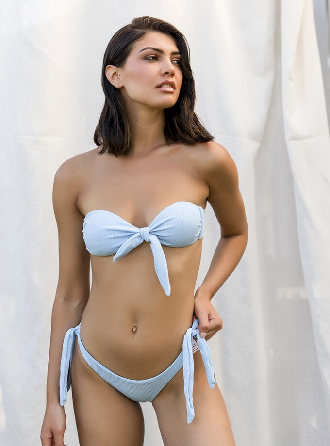 Bandeau bikini with knotted center