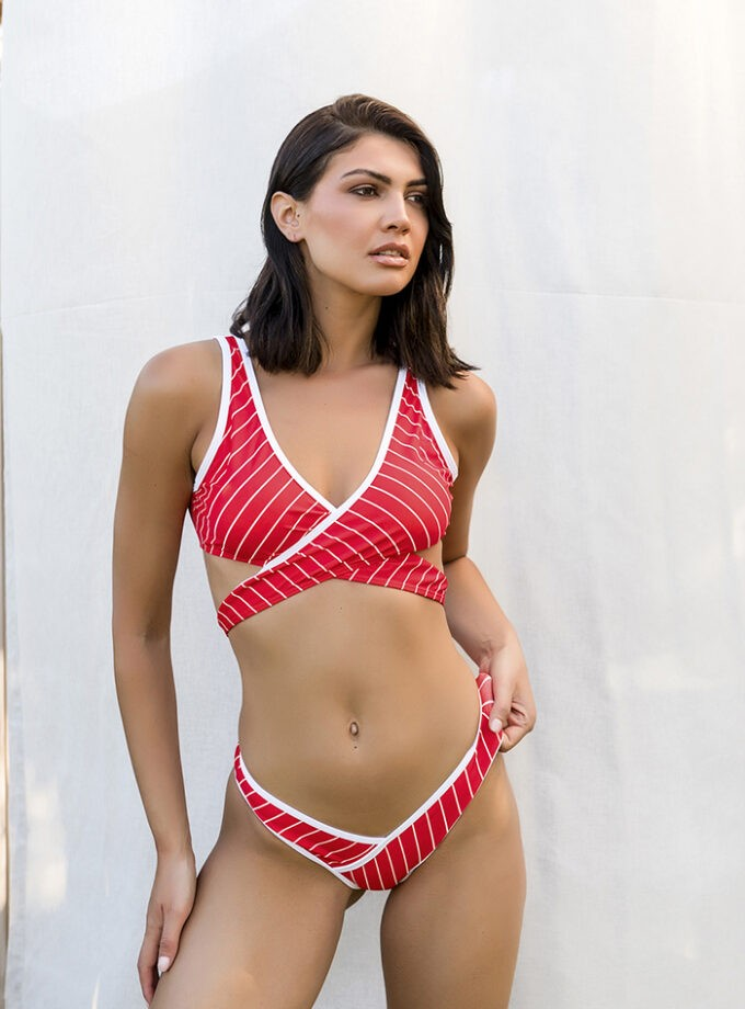 Striped bikini-Red