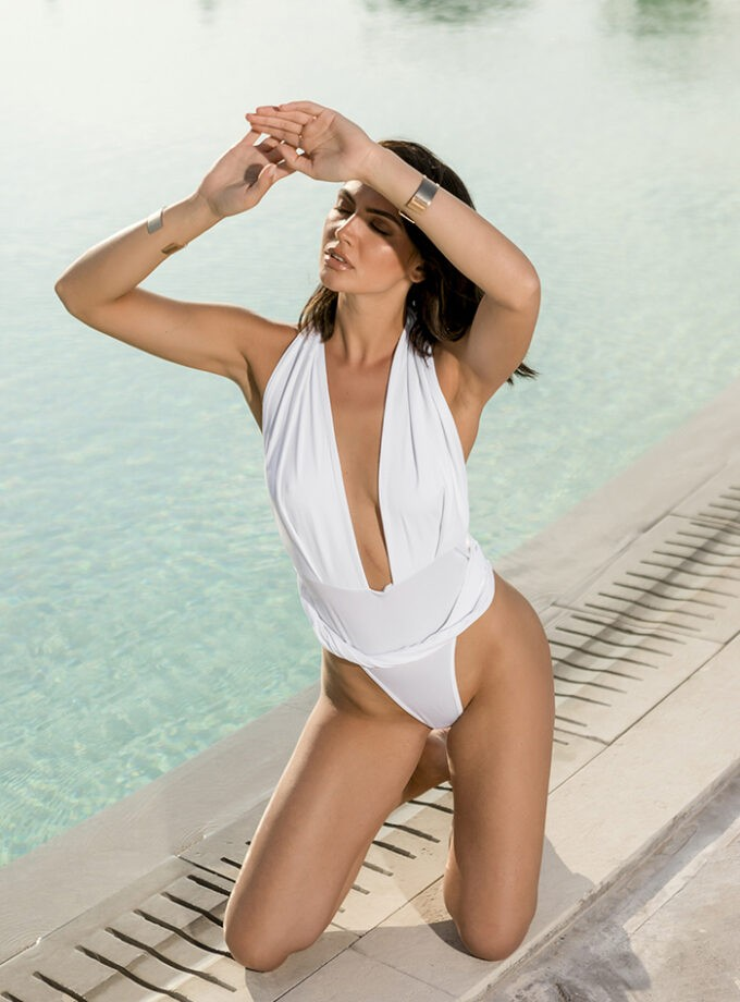 plunging halter one piece-White