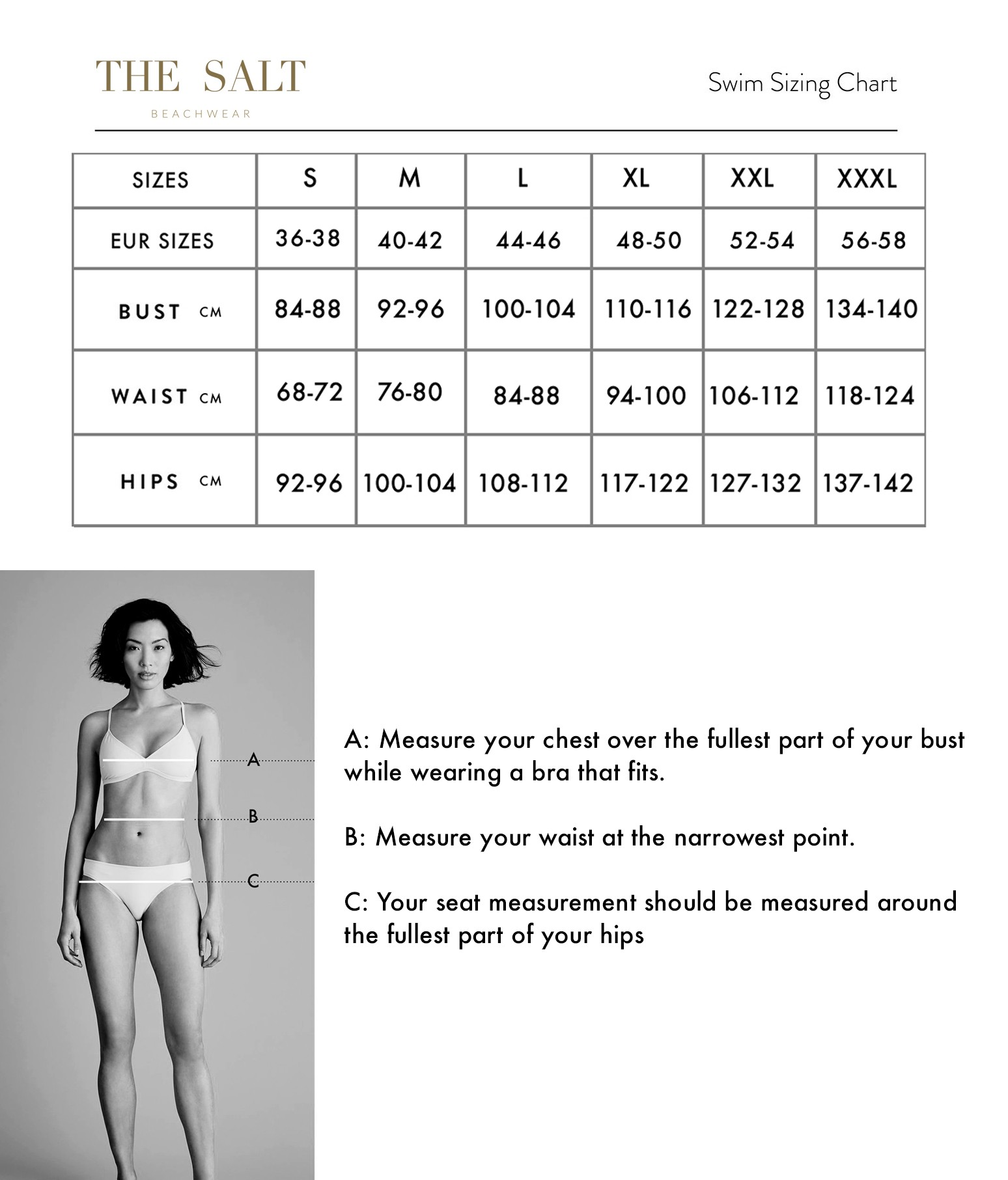 the salt beachwear size guide