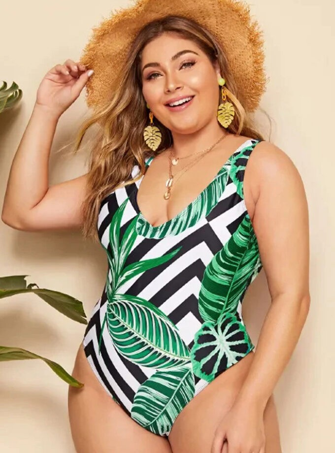 One piece with tropical print