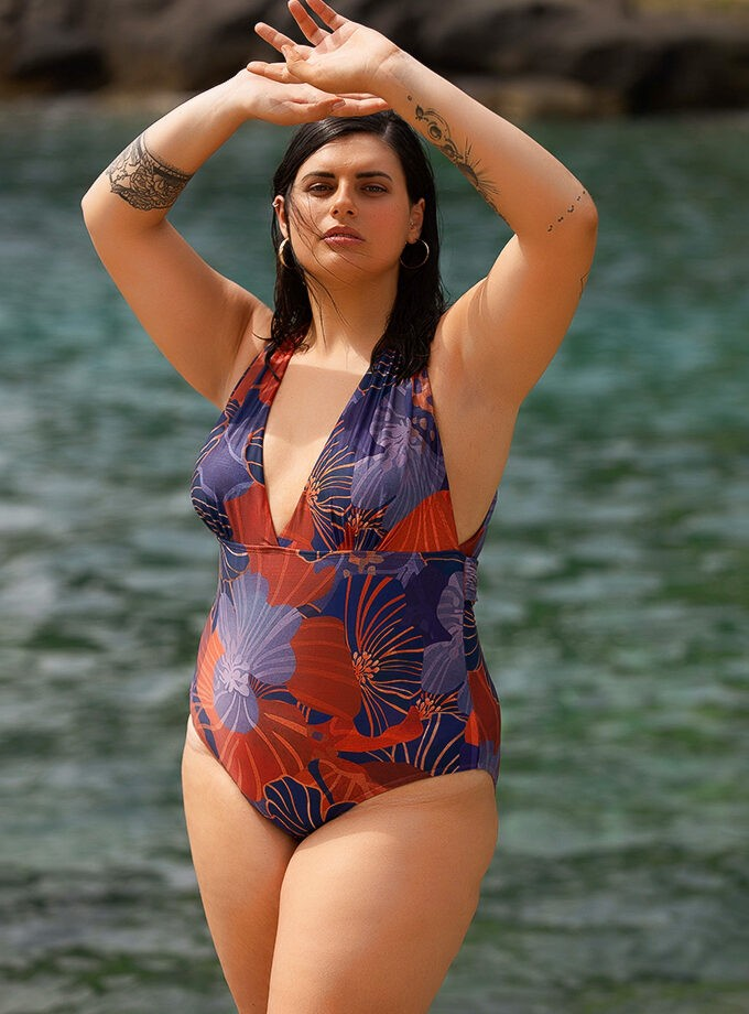 Halterneck floral one piece swimsuit
