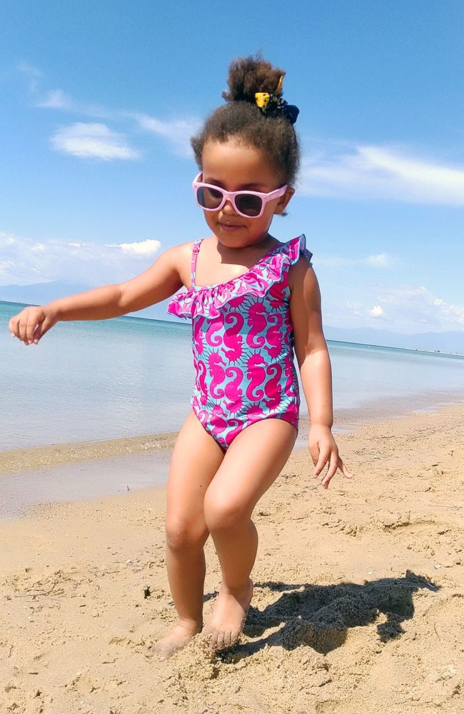Kids Swimsuit asymmetric with ruffles