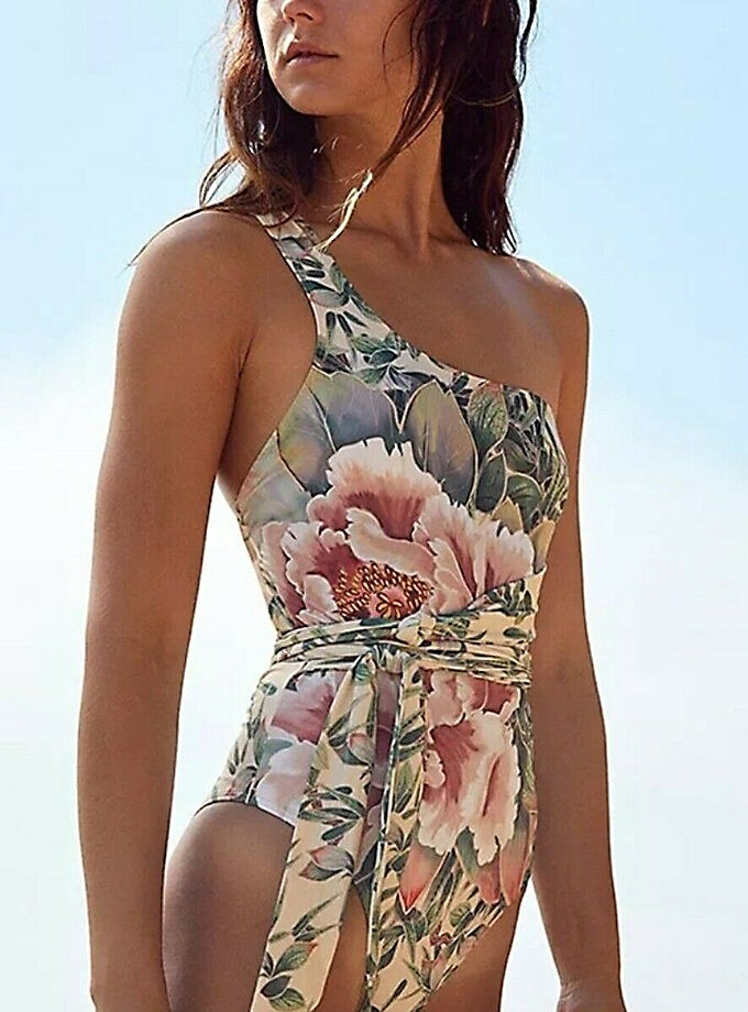 tropical flowers print-one piece