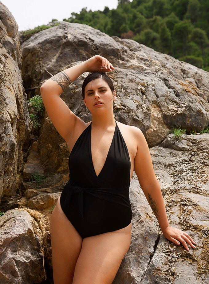 One piece with plunging halter