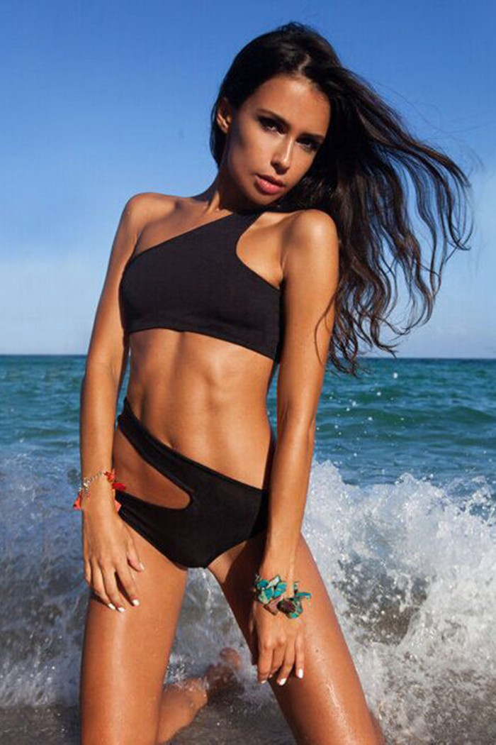 stunning bikini with asymmetric cut