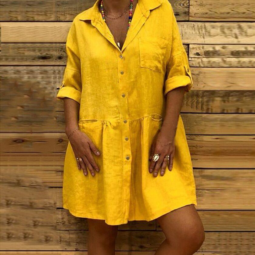 Κίτρινο φόρεμα με κουμπιά
