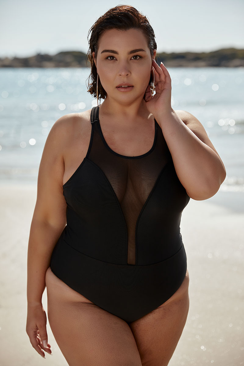 one piece with see-through details