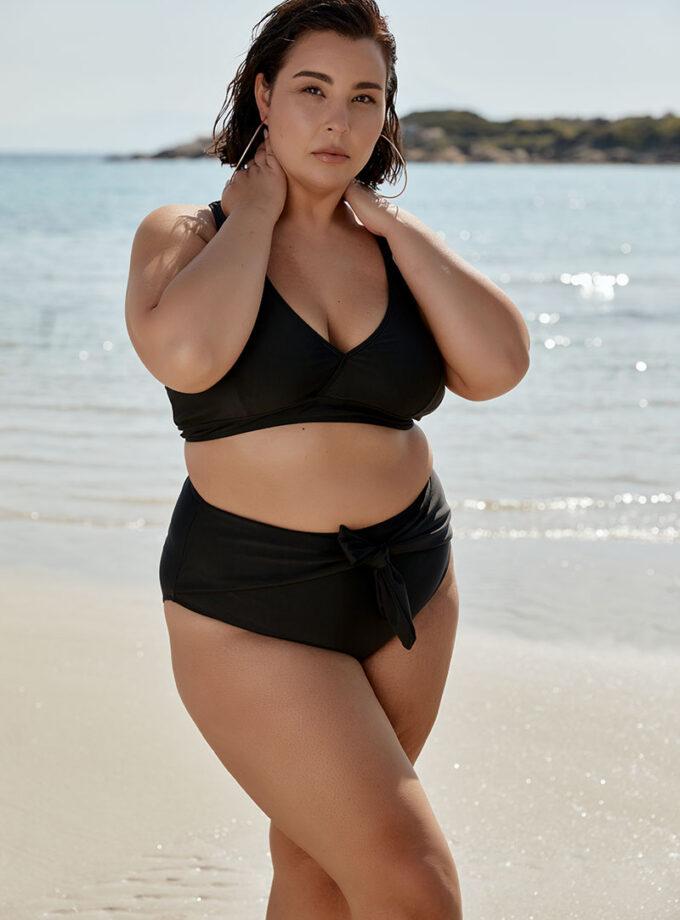 High-waisted striped bikini