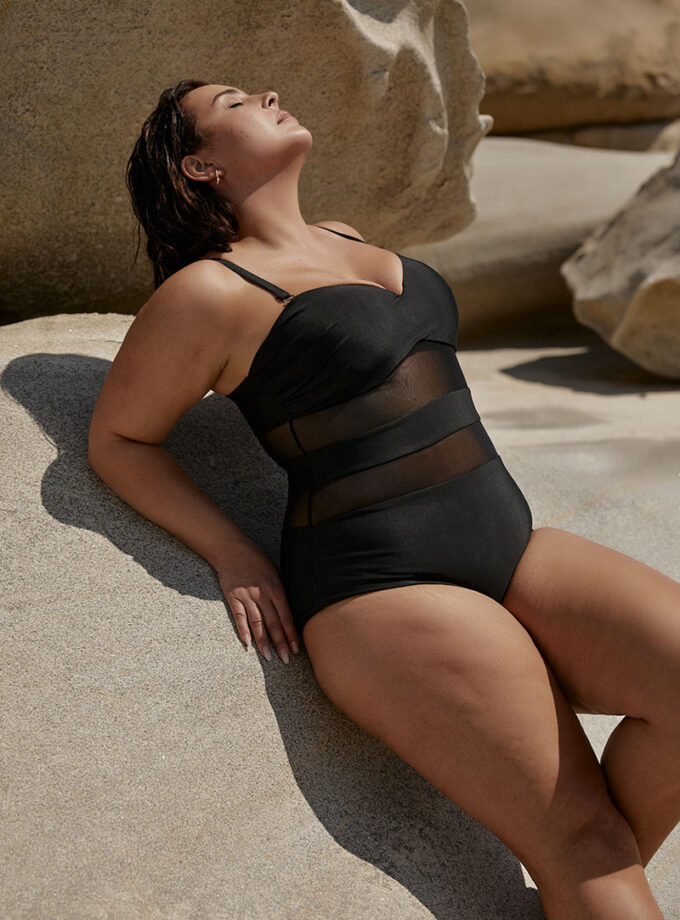 Swimsuit one piece with see-through details