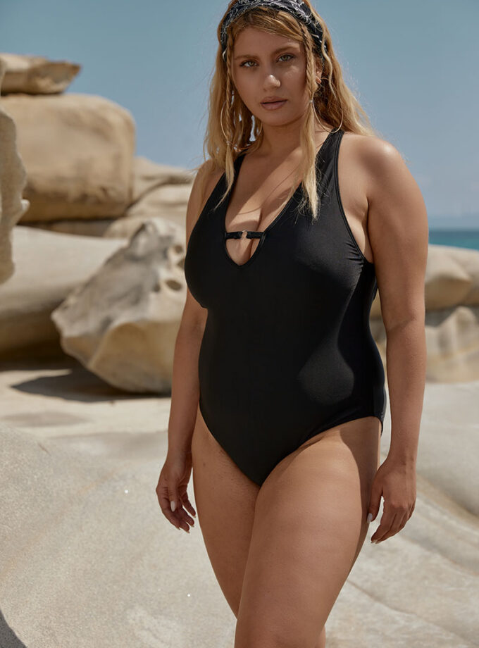 Amazing one piece with plunging halter