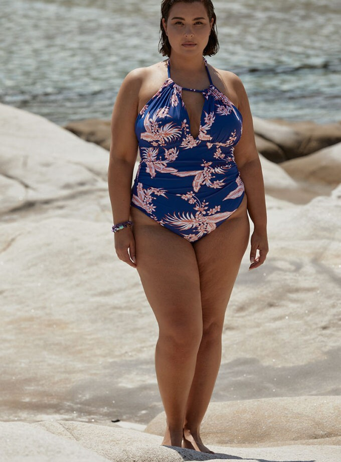 swimsuit  One piece with tropical print