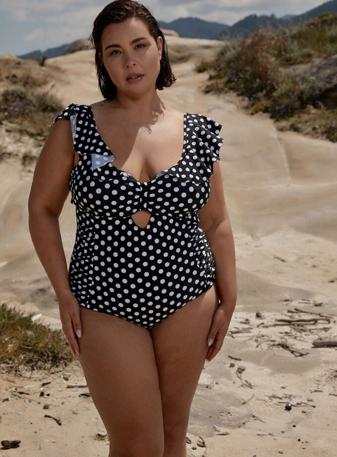 swimsuit  Polka dots one piece with ruffles details
