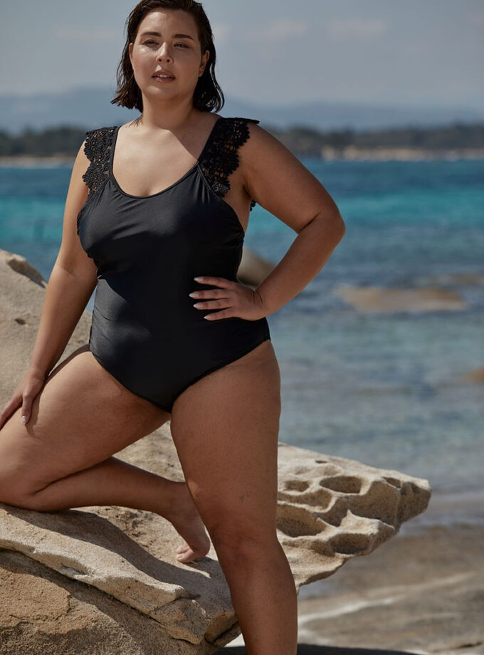 swimsuit one piece with lace on the straps
