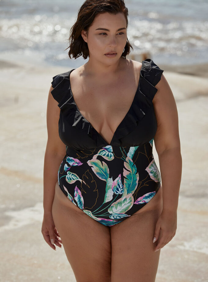 One piece with modern floral print