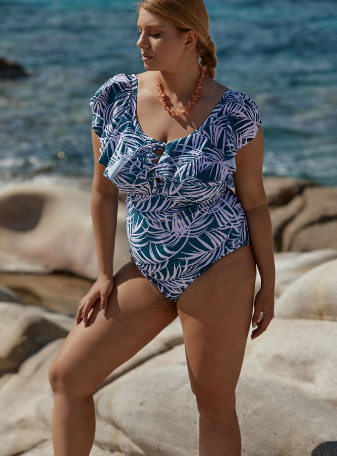 swimsuit one piece with modern floral print
