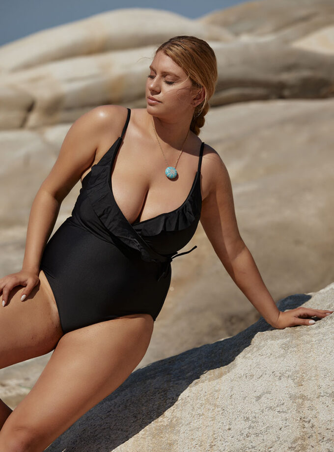 swimsuit One piece with ruffles on the neckline