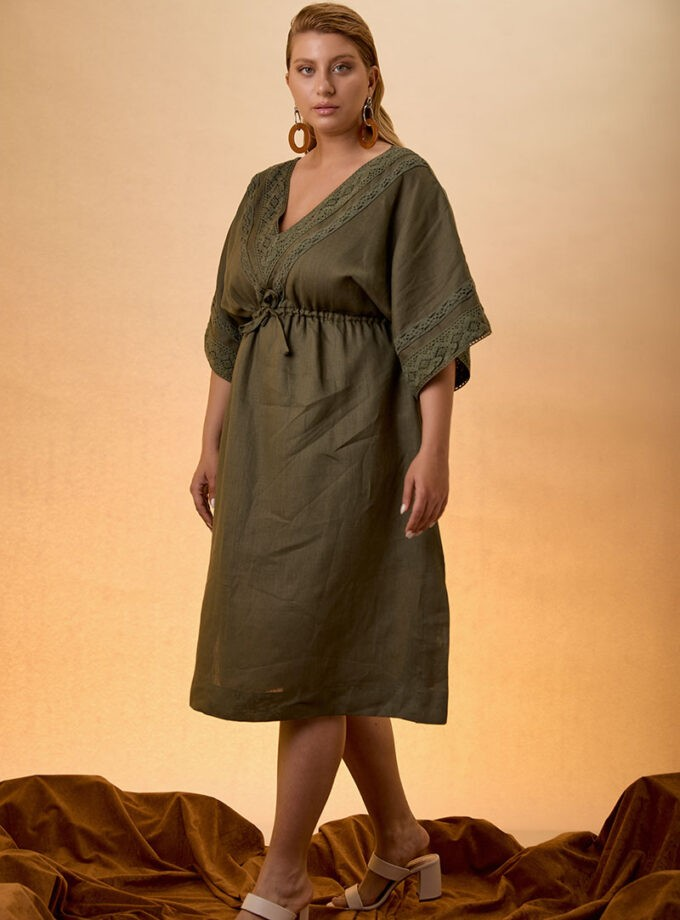 Kaftan Dress Linen - khaki