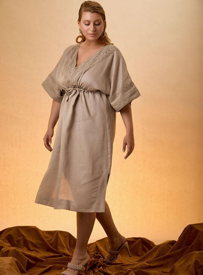 Kaftan Dress Linen - Beige
