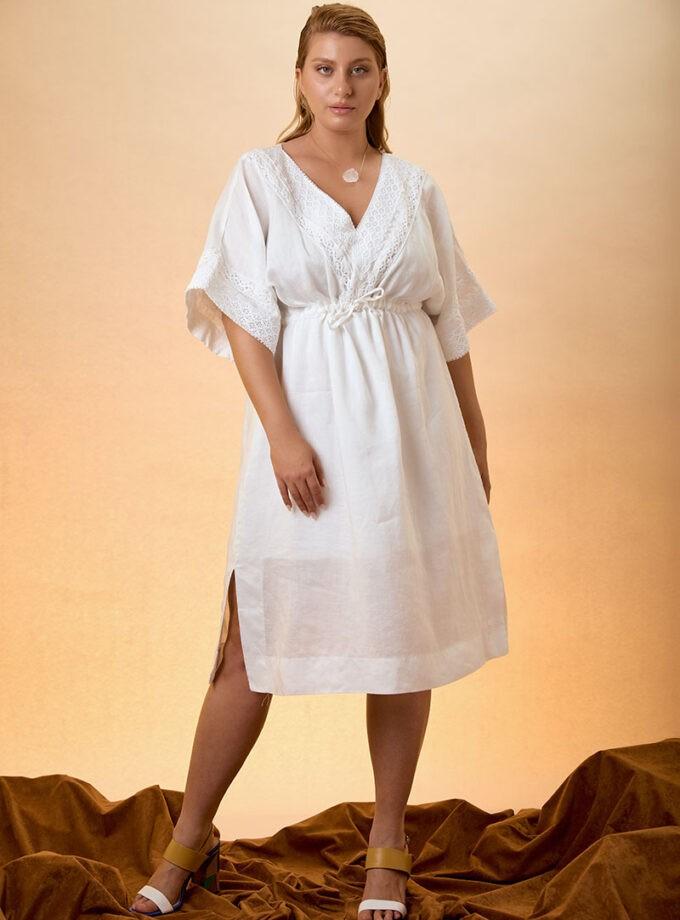 Kaftan Dress Linen - white