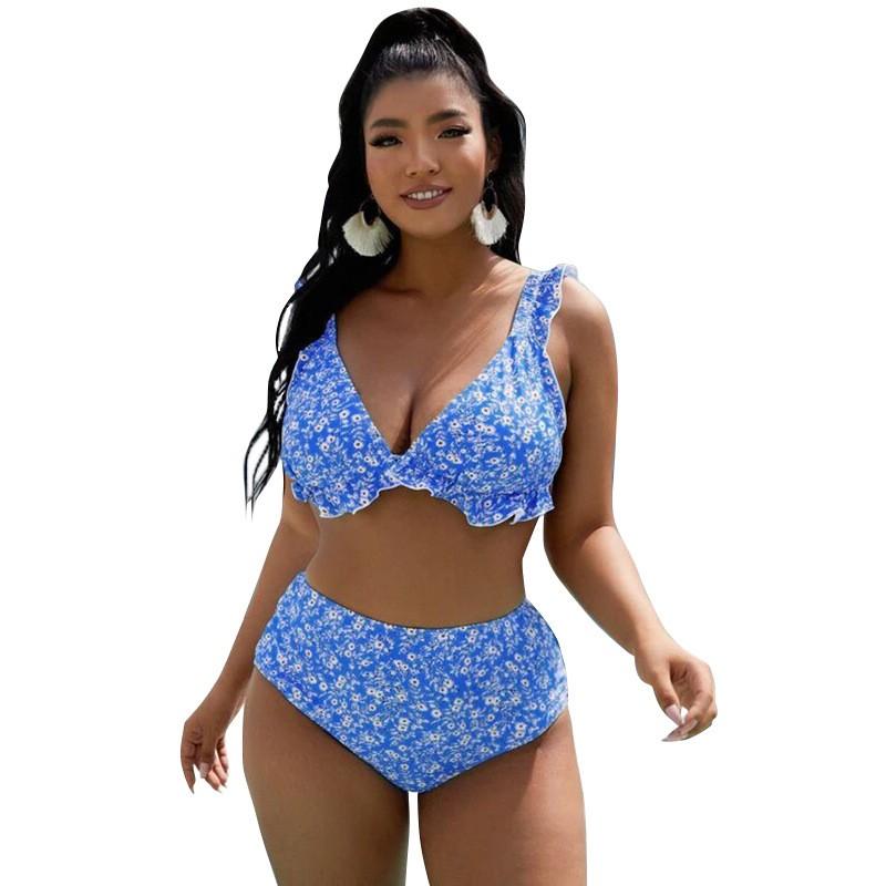 stylish bikini with floral print